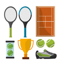 tennis sport equipment trophy court icons vector image
