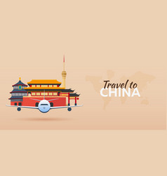 Travel to china airplane with attractions travel vector