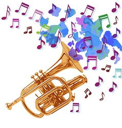 Trumpet design playing notes vector