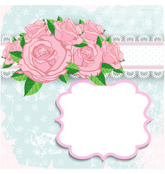 Vintage background with pink roses vector