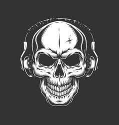 vintage skull listening music in headphones vector image