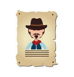 wanted wild west label vector image