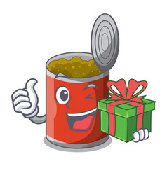 With gift canned food on the table cartoon vector