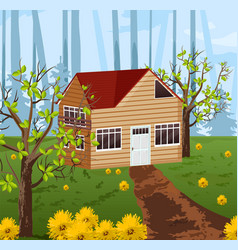 wood house with summer background vector image