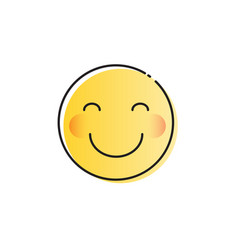 Yellow smiling cartoon face shy positive people vector