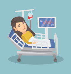 Young caucasian woman lying in hospital bed vector