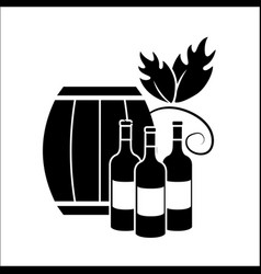 barrel and bottles of wine icon stock vector image vector image