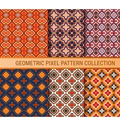 Collection of pixel geometric seamless patterns vector image