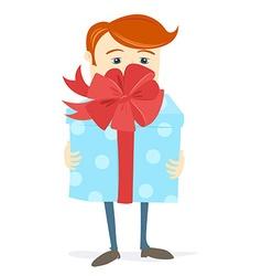 Man holding bid gift box with bow vector
