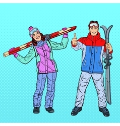 Pop Art Woman and Man with Ski on Winter Holidays vector image vector image