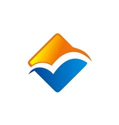 square business finance color logo vector image