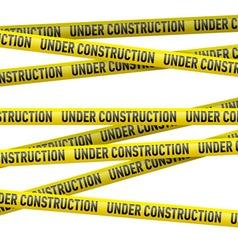 Yellow under construction danger tape vector image vector image