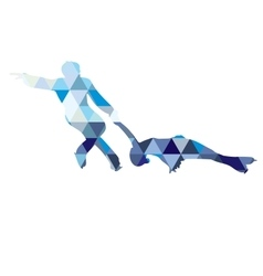 Detailed silhouettes of figure skaters vector image