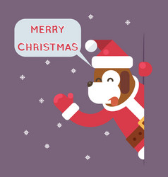 dog 2018 merry christmas santa looking out corner vector image vector image