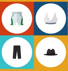 flat icon dress set of brasserie pants panama vector image vector image