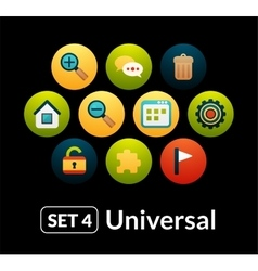 Flat icons set 4 - universal collection vector image