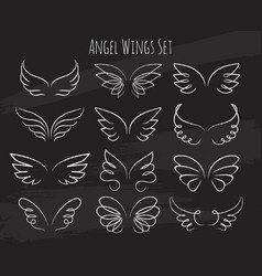 hand drawn angel wings on chalkboard vector image vector image