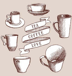 Set of coffee and tea cups vector image