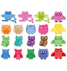 set of nineteen ornamental owls vector image