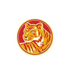 Tiger Prowling Head Circle Retro vector image vector image
