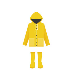 yellow raincoat and rubber boots vector image vector image