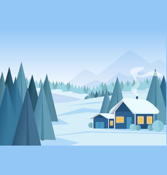 beautiful christmas winter snowy landscape vector image vector image