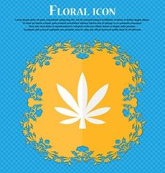 Cannabis leaf floral flat design on a blue vector