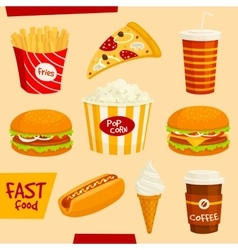 Fastfood icons set Snacks and beverages elements vector image