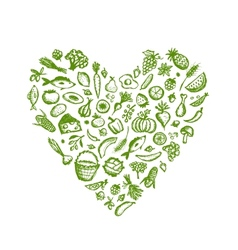Healthy food background heart shape sketch for vector image