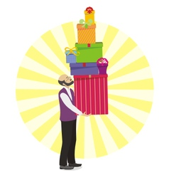 Old men with great gift in hand vector image vector image