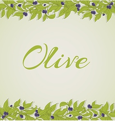 Background with green olive branches vector image vector image