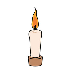 color image cartoon decorative candle spa in vector image