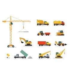 Construction Machinery Set Design Flat vector image