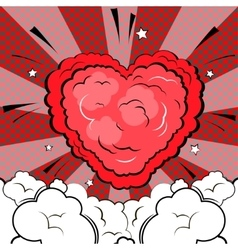 Explosion in form of heart in comic book style vector image vector image