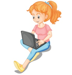 Girl using laptop vector image vector image