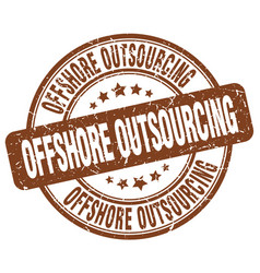 Offshore outsourcing brown grunge stamp vector