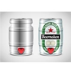Realistic metal beer keg vector