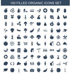 100 organic icons vector