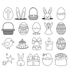 20 line art black and white easter elements set vector