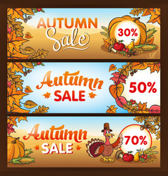 advertising banners for thanksgiving autumn sale vector image