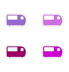 Assembly realistic sticker design on paper bus vector