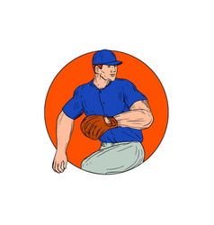 Baseball pitcher ready to throw ball circle vector