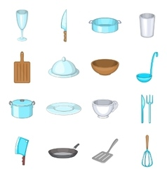 Basic dishes icons set cartoon style vector