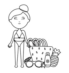 beautiful woman with handbag and accessories vector image
