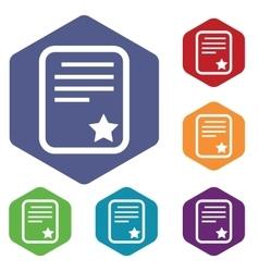 Best document icon hexagon set vector