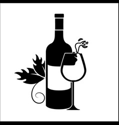 Bottle and glass splashing wine icon vector