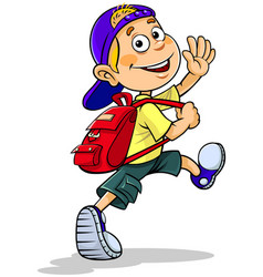 boy going to school vector image