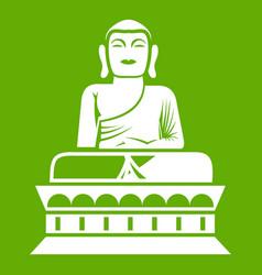 buddha statue icon green vector image