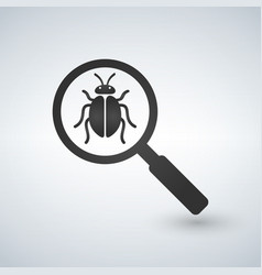 bug under magnifying glass icon isolated on white vector image