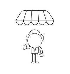 Businessman character giving thumbs-up under shop vector